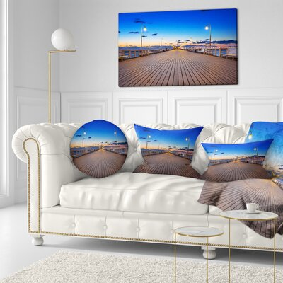Molo in Sopot at Baltic Sea Sea Bridge Throw Pillow Size: 16 x 16