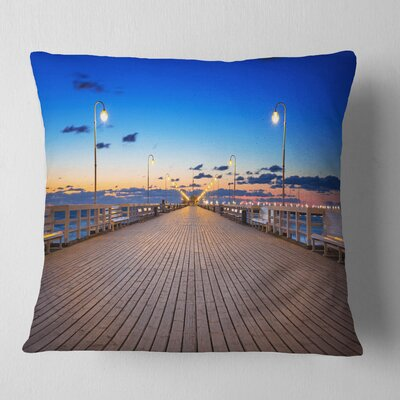 Molo in Sopot at Baltic Sea Sea Bridge Pillow Size: 16 x 16, Product Type: Throw Pillow