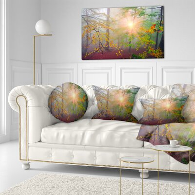 Morning in Misty Forest Landscape Photo Throw Pillow Size: 20 x 20
