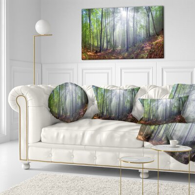 Morning Sun Rays in Carpathian Landscape Photography Throw Pillow Size: 20 x 20