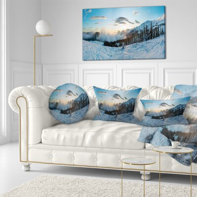Morning Winter Carpathian Mountains Landscape Printed Throw Pillow Size: 16 x 16