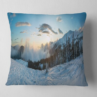Morning Winter Carpathian Mountains Landscape Printed Pillow Size: 18 x 18, Product Type: Throw Pillow