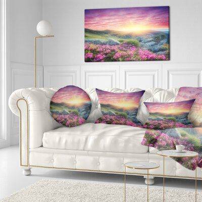 Morning with Flowers in Mountains Landscape Photography Throw Pillow Size: 20 x 20
