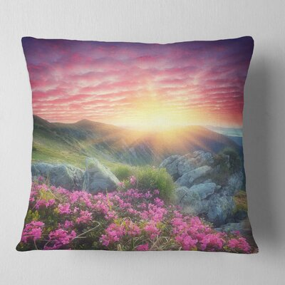Morning with Flowers in Mountains Landscape Photography Pillow Size: 16 x 16, Product Type: Throw Pillow