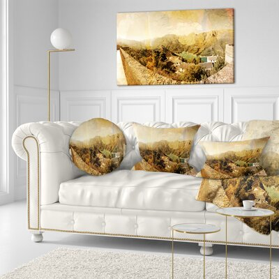Mountain and Lofty Lake Landscape Photo Throw Pillow Size: 16 x 16