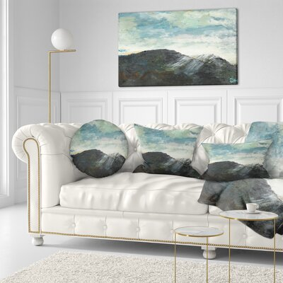 Mountain Peak Under Cloudy Sky Landscape Painting Throw Pillow Size: 16 x 16
