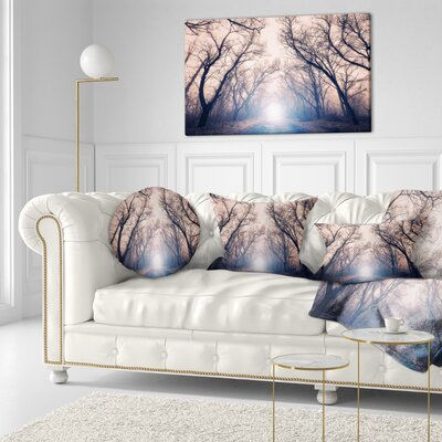 Mysterious Sunlight in Forest Landscape Photo Throw Pillow Size: 16 x 16