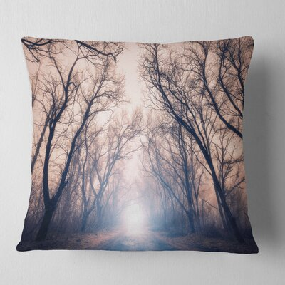 Mysterious Sunlight in Forest Landscape Photo Pillow Size: 16 x 16, Product Type: Throw Pillow