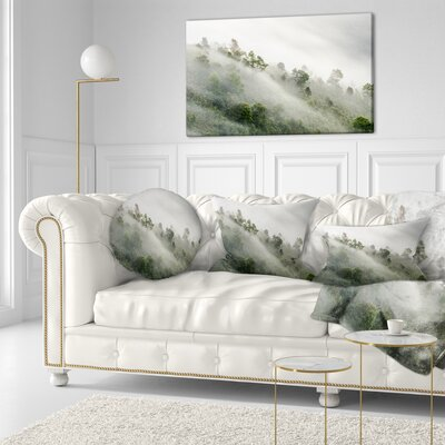 Mystical Foggy Mountain Slope Landscape Photography Throw Pillow Size: 16 x 16