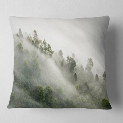 Mystical Foggy Mountain Slope Landscape Photography Pillow Size: 26 x 26, Product Type: Euro Pillow