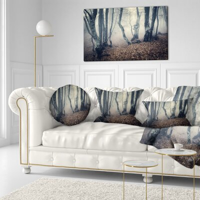 Mystical Fog in Fall Forest Landscape Photography Throw Pillow Size: 20 x 20