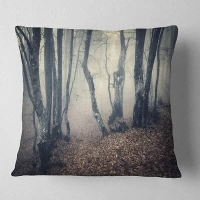 Mystical Fog in Fall Forest Landscape Photography Pillow Size: 26 x 26, Product Type: Euro Pillow
