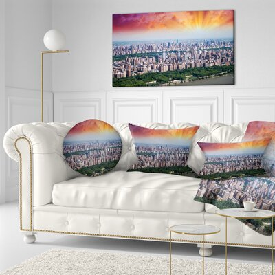 New York Beautiful Manhattan Skyline Cityscape Throw Pillow Size: 16 x 16