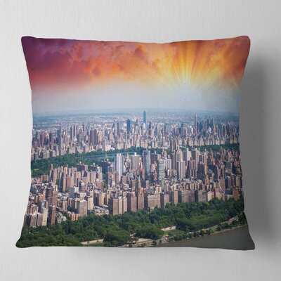 New York Beautiful Manhattan Skyline Cityscape Pillow Size: 16 x 16, Product Type: Throw Pillow