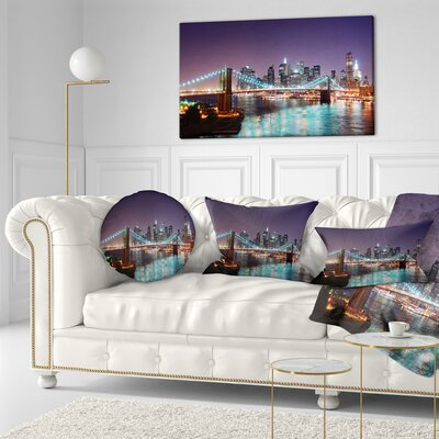 New York City Manhattan Skyline Panorama Cityscape Throw Pillow Size: 16 x 16