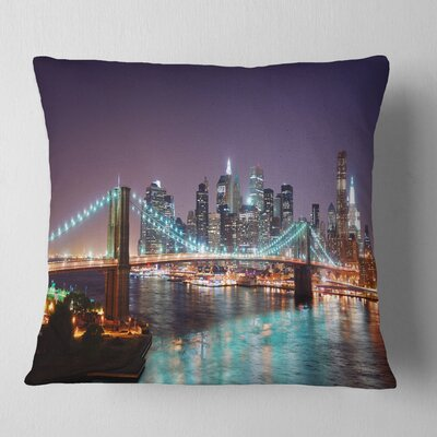 New York City Manhattan Skyline Panorama Cityscape Pillow Size: 16 x 16, Product Type: Throw Pillow