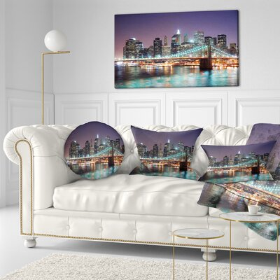 New York City Manhattan Skyscrapers Cityscape Throw Pillow Size: 16 x 16
