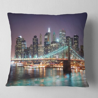 New York City Manhattan Skyscrapers Cityscape Pillow Size: 16 x 16, Product Type: Throw Pillow