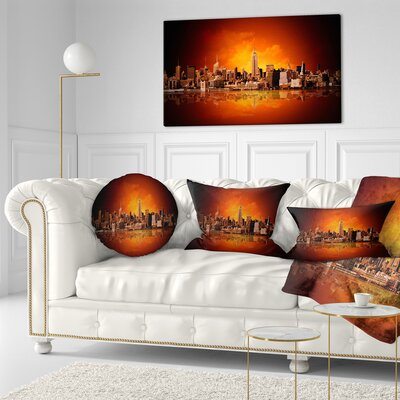 New York City Panorama in Light Cityscape Throw Pillow Size: 20 x 20