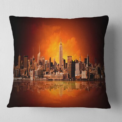 New York City Panorama in Light Cityscape Pillow Size: 16 x 16, Product Type: Throw Pillow