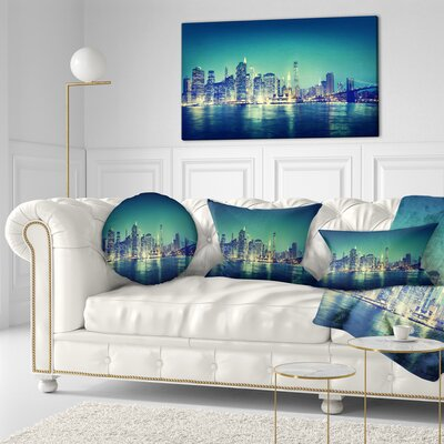 New York City Panorama Night Concept Cityscape Throw Pillow Size: 16 x 16
