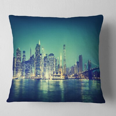 New York City Panorama Night Concept Cityscape Pillow Size: 16 x 16, Product Type: Throw Pillow