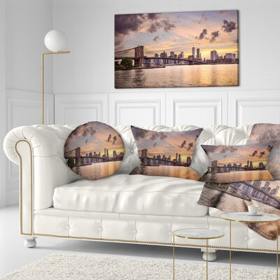 New York City Skyline under Clouds Cityscape Throw Pillow Size: 20 x 20