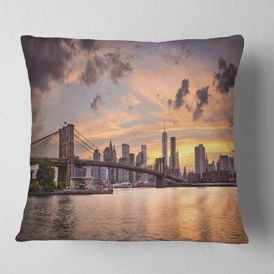 New York City Skyline under Clouds Cityscape Pillow Size: 16 x 16, Product Type: Throw Pillow
