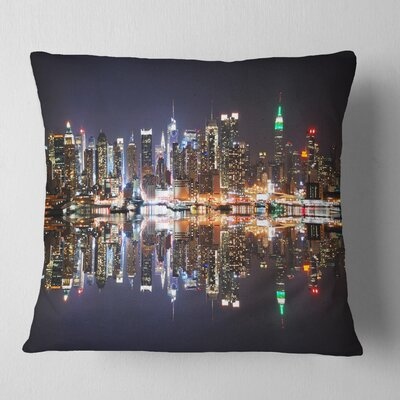New York City Skyscrapers in Shade Cityscape Pillow Size: 18 x 18, Product Type: Throw Pillow