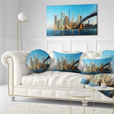 New York City with Brooklyn Bridge Cityscape Throw Pillow Size: 20 x 20