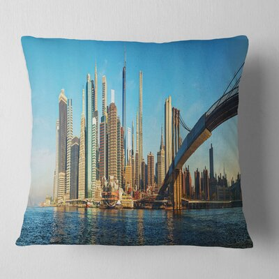 New York City with Brooklyn Bridge Cityscape Pillow Size: 16 x 16, Product Type: Throw Pillow