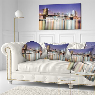 New York City with Freedom Tower Cityscape Throw Pillow Size: 16 x 16
