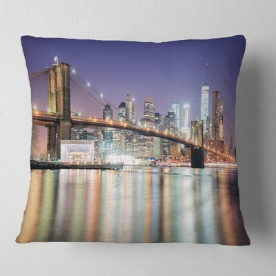 New York City with Freedom Tower Cityscape Pillow Size: 18 x 18, Product Type: Throw Pillow