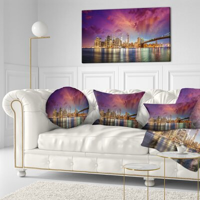New York Manhattan Skyline with Clouds Cityscape Throw Pillow Size: 16 x 16