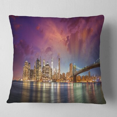 New York Manhattan Skyline with Clouds Cityscape Pillow Size: 26 x 26, Product Type: Euro Pillow
