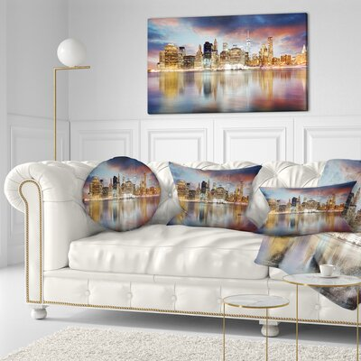 New York Skyline at Sunrise with Reflection Cityscape Throw Pillow Size: 16 x 16