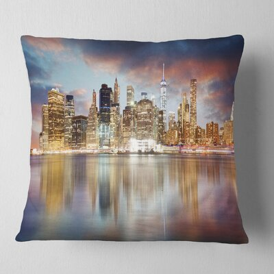 New York Skyline at Sunrise with Reflection Cityscape Pillow Size: 16 x 16, Product Type: Throw Pillow