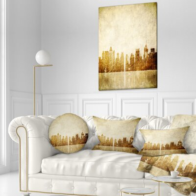 New York Skyline Grunge View Cityscape Throw Pillow Size: 20 x 20