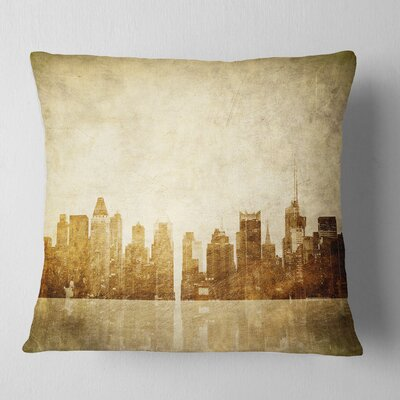 New York Skyline Grunge View Cityscape Pillow Size: 16 x 16, Product Type: Throw Pillow