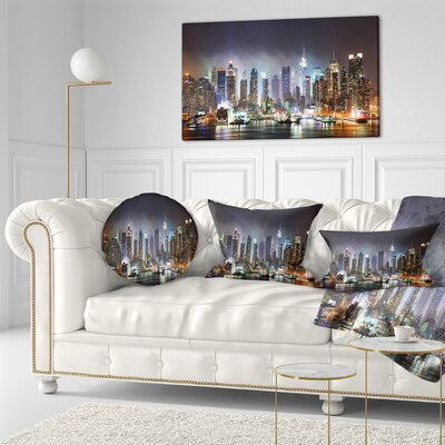New York Times in Light Cityscape Throw Pillow Size: 16 x 16