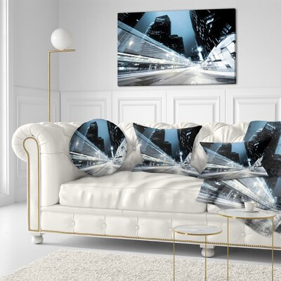 Night Traffic in Hong Kong Cityscape Throw Pillow Size: 16 x 16