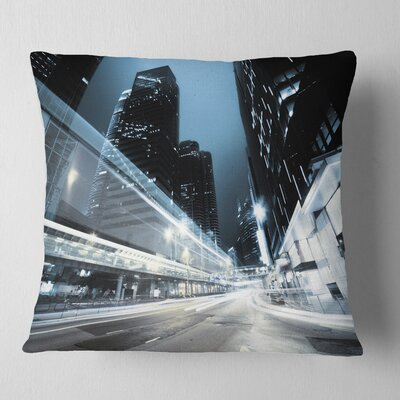 Night Traffic in Hong Kong Cityscape Pillow Size: 16 x 16, Product Type: Throw Pillow