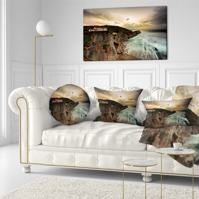 Ocean Hitting Rocky Hill Seashore Photo Throw Pillow Size: 16 x 16