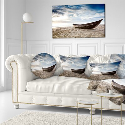 Old Fisherman Boat Seashore Photography Throw Pillow Size: 16 x 16