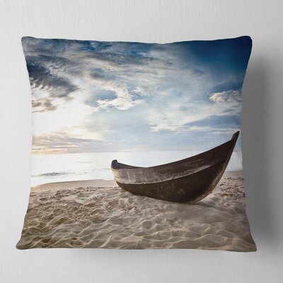 Old Fisherman Boat Seashore Photography Pillow Size: 18 x 18, Product Type: Throw Pillow