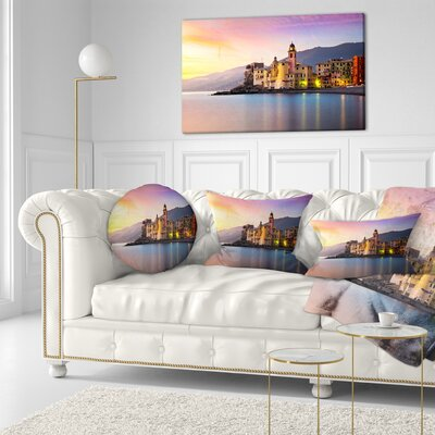 Old Mediterranean Town at Sunrise Seashore Throw Pillow Size: 20 x 20