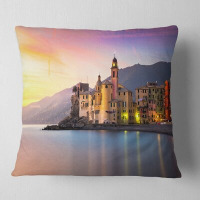 Old Mediterranean Town at Sunrise Seashore Pillow Size: 18 x 18, Product Type: Throw Pillow