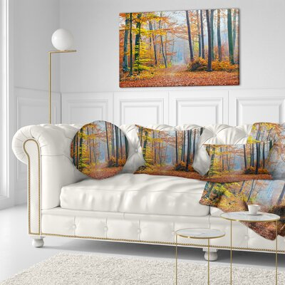 Fall Leaves in Forest Landscape Photography Throw Pillow Size: 20 x 20
