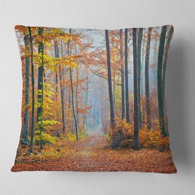 Fall Leaves in Forest Landscape Photography Pillow Size: 18 x 18, Product Type: Throw Pillow