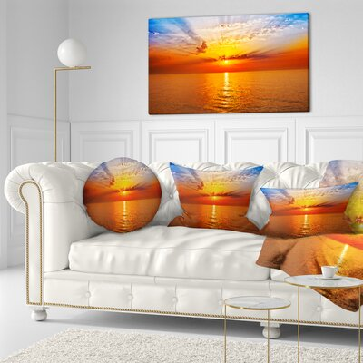Sea Sunrise Under Sky Seashore Throw Pillow Size: 16 x 16